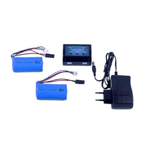 Preisvergleich Produktbild YouCute 1to2 Ladegerät und 2 Stück 7.4V 1500mAh Batterien für MJX F649 F639 T640C RC Hubschrauber Ersatzteile Zubehör