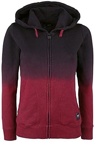 Black Premium by EMP Dip Dye Hoodie Jacket Veste à Capuche Femme noir/bordeaux M