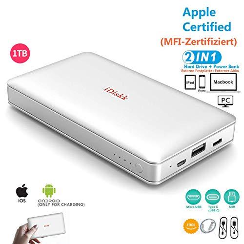 1000GB (1TB) Extern Festplatte USB Stick für iPhone 5/6/7/8/X,XR, iPad Pro und MacBook und PC, External Hard Drive USB 3.0 Daten und Foto Datensicherung (APP Management),MFi-Zertifiziert