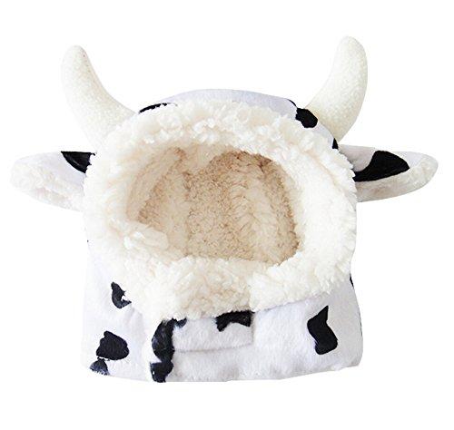 Schwarz Weiß Mad Cow Pet Hat für Katzen & kleine Hunde Funny Pet Cosplay Kostüm mit gefüllt Ohren Mad Cow