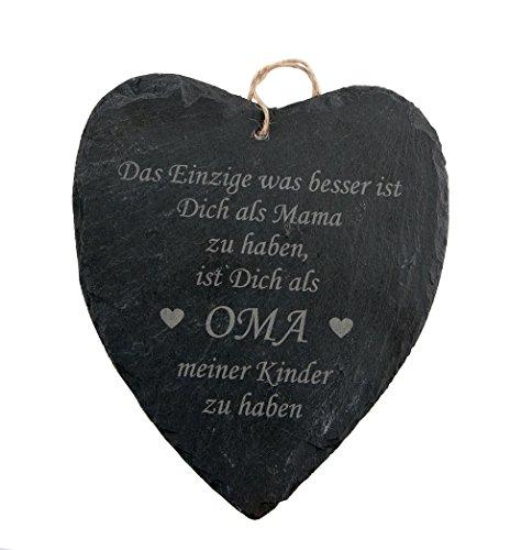 geschenke-fabrik Schiefer Herz mit Spruch/Gravur für Oma - Geschenk/Schieferherz für Oma