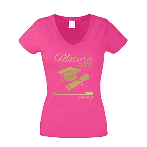 Damen T-Shirt V-Neck - Matura 2016 ...loading - von SHIRT DEPARTMENT fuchsia-gold