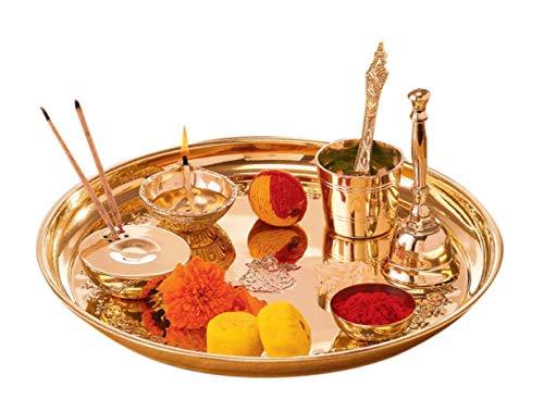 Spiritual World Decorated Metal Puja Thali Set (29.4 cm x 11.62 cm x 11.62 cm) by -