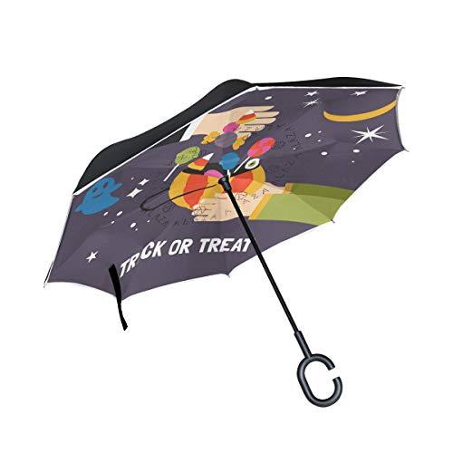ALINLO Regenschirm für Halloween/Trick / Leckereien/Süßigkeiten, doppelschichtiger Rückwärtsschirm, wasserdicht, für Auto/Regen im Freien mit C-förmigem Griff