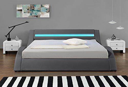 Hypnia - Letto Design LED, Colore: Grigio-180 x 200 (cm)