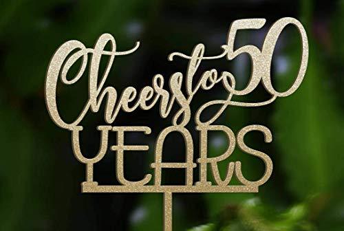 chzeitstorte Dekoration Geburtstag Cheers bis 50 Jahre Geburtstag Kuchen Dekoration Jahrestag Happy Bi-Year Hochzeit Geschenk Ideen ()