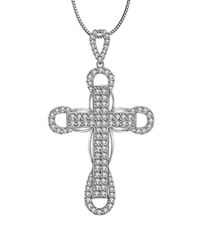 AMDXD 925 Sterling Silber Kette Damen Halskette Silber Hohl Runde Kreuz Zirkonia Anhänger