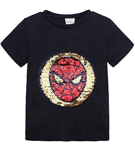 Tanz Spider Kostüm - Askong Spiderman-T-Shirt für Jungen und Mädchen, kurzärmelig, mit Pailletten Gr. 3-4 Jahre, Schwarz
