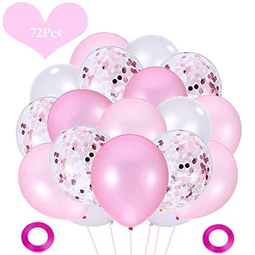 JWTOYZ 72 Stück Luftballons Rosa Weiß Konfetti Ballons für Geburtstag, Babyparty, Hochzeit - Rosa & Weiß