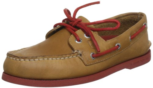 Sperry A/O 2-Eye Leather neon sole Ankle Boots Mens Brown Braun (sahara/neon red normal) Size: 45.5
