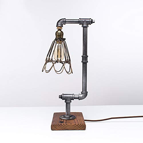 Rost-akzenten (AXWT Tischleuchte Beleuchtung Loft Vintage Brauchwasserrohr Holz Tischleuchte E27 Edison Schmiedeeisen Schreibtisch Akzent Lampenschirm Für Nacht Cafe Bar Korridor In Rost Tischlampe)