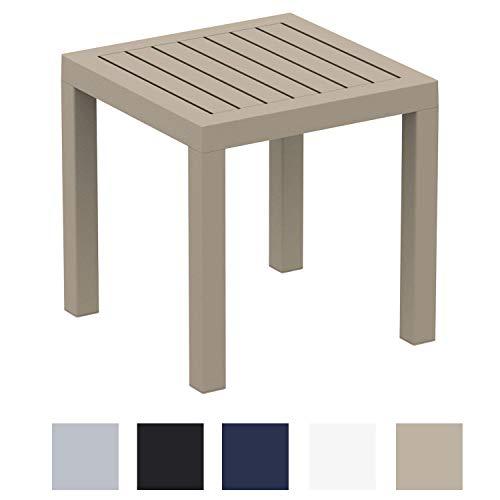 CLP Beistelltisch Ocean I Wetterfester Gartentisch aus UV-beständigem Kunststoff I witterungsbeständiger Tisch