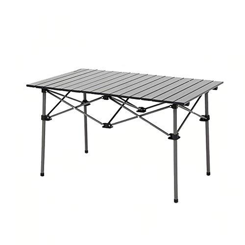 WU LAI Table Et Chaise Pliantes Extérieures | Table Et Chaise en Aluminium Portatives | Table De Pique-Nique Barbecue Voiture Auto,Black-55x95x53cm