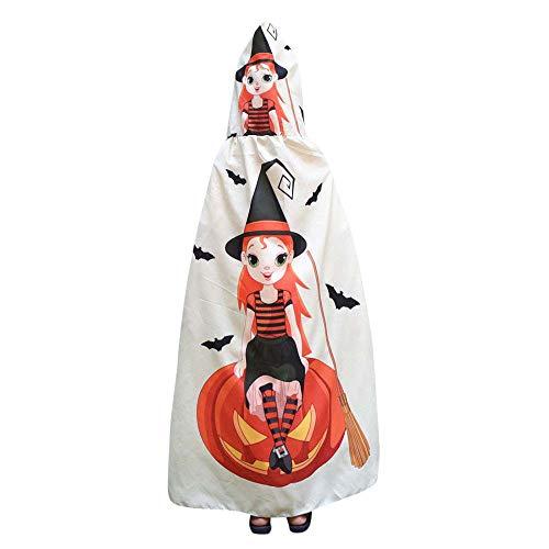 Cape Enfant Châle Foulards à Capuche de Halloween Noël, QinMM Imperméable Accessoire de Costume Deguisement Carnaval Anniversaire Dessinée Cosplay Vêtements Sorcière Fantôme Lettre Impression Ailes
