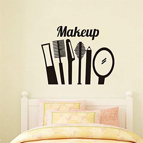 XCSJX Augenbrauenstift Augenbrauenpinsel Spiegel Make-up-Tool geschnitzt Poster Make-up-Raum Beauty-Shop Fenster Werbung dekorative Wandaufkleber 59x63cm