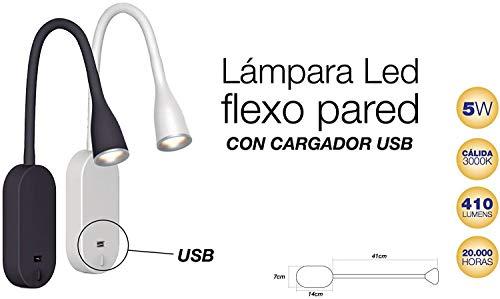 Lámpara LED Flexo de Pared Blanco USB