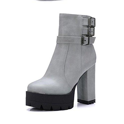 ZQ@QX Testa rotonda spessa con scarpe con i tacchi alti la moda della fibbia della cintura di sicurezza anteriore con cerniera laterale Stivali Stivali Donna stivali gray