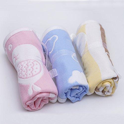 BabyWaschlappen mit Haken, 3-Pack Musselin 25cm*25cm Babytücher Beste für Dusche Geschenk