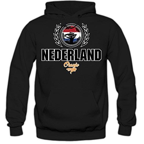 Fußball Niederlande V2 Hoody | Herren | Fußball | Nationalmannschaft | Nederland | Oranje | Kapuzenpullover | Herrenhoody, Farbe:Schwarz (Black F421);Größe:L