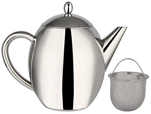 Rosenstein & Söhne Teekrug: Edelstahl-Teekanne mit Siebeinsatz, 1,75 Liter, spülmaschinenfest (Teekanne mit Sieb Edelstahl)