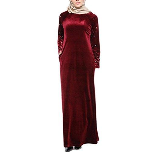 (Elecenty Islamisch Maxikleid Damen,Frauen Reizvolle Samtkleid Robe Plus Size Herbstkleid Langarmkleid Langarm Kleider Cocktailkleid Ballkleid Swing-Kleid Winter Kleid Partykleid Cocktailkleid)
