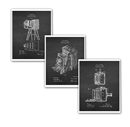 Gnosis Bilder-Archive Antik-Klappkamera-Patent-Kunst, 3 Stück, ungerahmte Kamera-Poster Fotografen Geschenk Patent_Photography_Chk3A Vintage Folding Camera