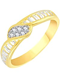 VK Jewels Mesh Gold And Rhodium Plated Alloy CZ American Diamond Ring For Men [VKFR2641G]
