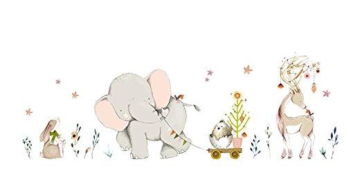 aloiness Dibujos animados Lindo Elefante Desmontable Pegatinas de Pared Etiqueta de la Pared, Niños Infantiles Dormitorio Vivero DIY Decorativas Murales