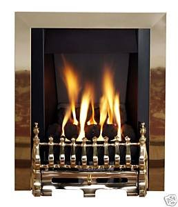 Living Flame Gas Fire Brass 'Blenhiem' Slimline