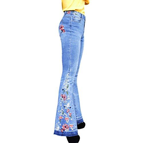 LAEMILIA Damen Jeans Blumen Stickerei Slim Fit Schlaghosen Skinny Beiläufig Stretch Retro Stil Boyfriend Schlagjeans