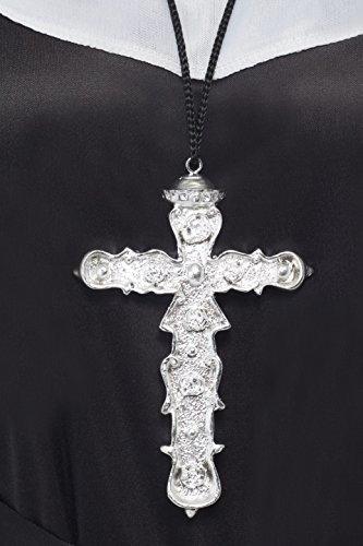 Kunstvoller Kreuzanhänger Silber an schwarzer Schnur, One Size (Nonne Kostüm Accessoires)