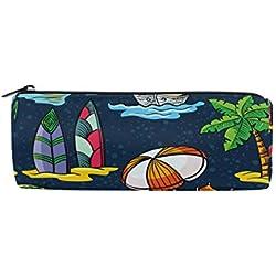 Trousse à crayons de plage d'été pour planche de surf Étoile de mer Étoile de mer Pastèque Porte-crayons École Tambour Enfant Grande Capacité Pochette Maquillage Cosmétique Boîte de Voyage Bureau