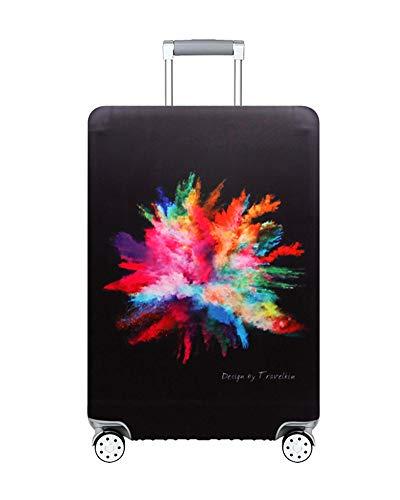 ZIXINGA Waschbare elastische Gepäcktasche Schutzfolie für 26-32 Zoll Kofferhülle mit Gepäckriemen (Mehrfarbiger Tintenstrahl, L)