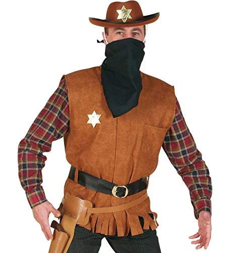 KarnevalsTeufel 3-TLG. Herrenkostüm Weste Arizona Joe, Weste mit Gürtel und Halstuch Wilder Westen Cowboy und Indianer (XX-Large)