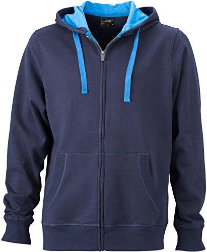 JN595 Men´s Hooded Jacke Sweatjacke Kapuze Sweatshirt Navy-Cobalt