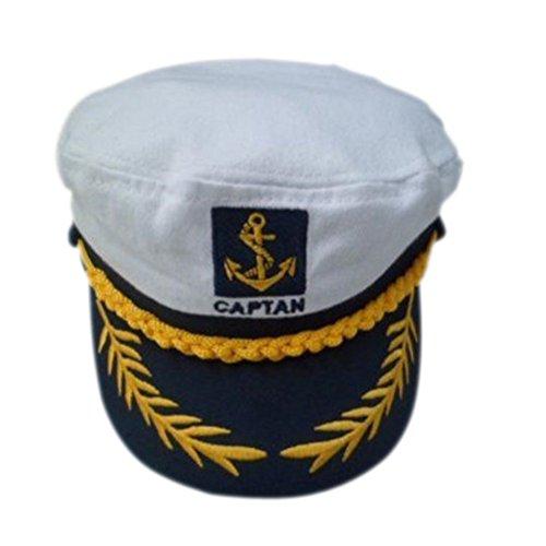 Hut Yacht Erwachsene (LUOEM Captain Hut Cap Kostüm Marine Marine Admiral Hut für Kostüm)