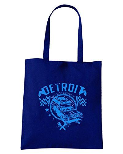 T-Shirtshock - Borsa Shopping TR0039 Detroit Muscle Car T-Shirt Dodge, V8, Hot Rod, US Kult - blue print Blu Navy