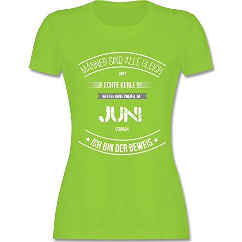 Shirtracer Geburtstag - Echte Kerle Werden IM Juni Geboren - Damen T-Shirt Rundhals Hellgrün
