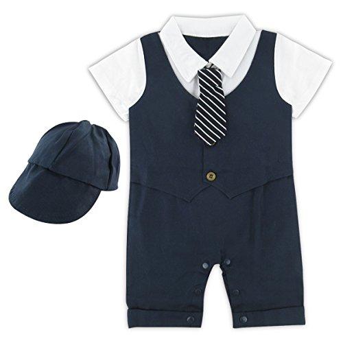 A&J Design Baby Jungen Gentleman Kostüm Strampler mit Hut (Königsblau, 12-18 Monate)