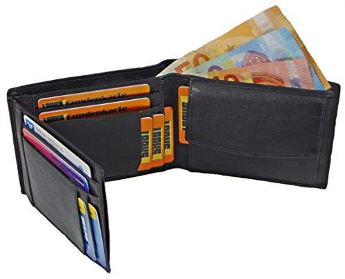 - Kalb-leder-münzen-geldbeutel (LAAKS ® Herren-Geldbörse John Männer-Geldbeutel mit RFID-Schutz Echt-Leder handgefertigt schwarz Portemonnaie Herren-Brieftasche im Querformat Börse Portmonee Geschenk-Wallet Design Made in Germany)