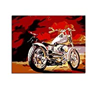 WYTCY Motor Cycles DIY Drawing By Hand Canvas Coloring Painting By Numbers For Adults Unique Gift Bedroom Wall Art With Framed 40x50cm