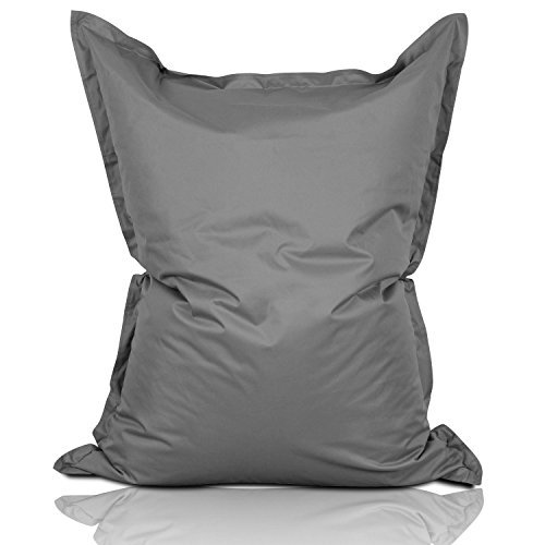 Lumaland Luxury Riesensitzsack XL Sitzsack 270l Füllung 120 x 160 cm Indoor Outdoor Grau (Leder Polyester Liege)