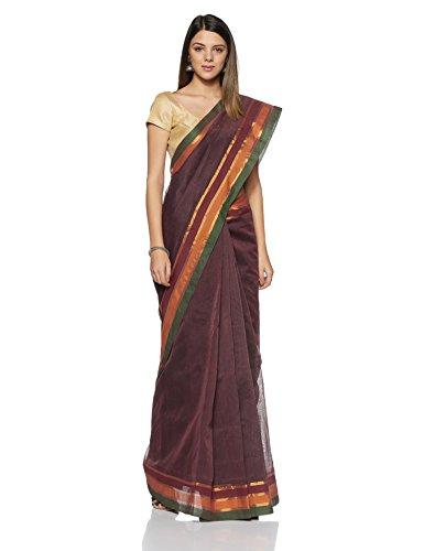 Gocoop Cotton Saree With Blouse Piece (GCVKDCOSAA0110_Maroon_One Size)