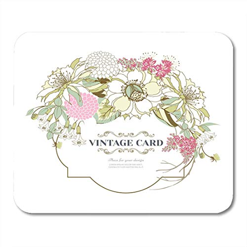 Mouse Pads Birthday Pink Wedding Vintage with Bouquet of Beautiful Exotic Flowers White with Spring Garlands Bell Mouse Pad for Notebooks,Desktop Computers Office Supplies (Pink Bells Wedding)
