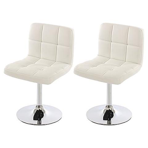 Lot de 2 chaises de salle à manger Kavala, pivotante, similicuir, blanc