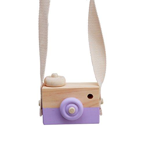 CanVivi Süße Holz Kamera Spielzeug Kleinkinder Fotoapparat Rollen Spielzeug,Lila