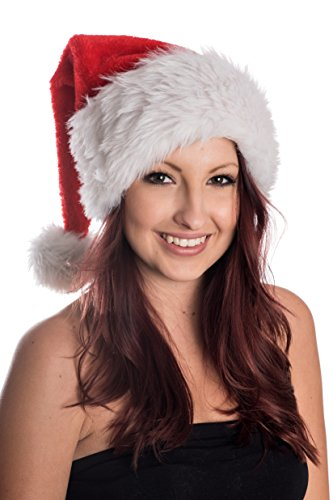 olausmütze Mütze Weihnachten Nikolausmütze Santa Christmas Nikolaus Luxus Dicker Fellrand Rot (Santa-mützen)