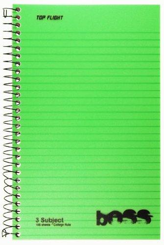 Top Flight Boss Poly Cover 3-subject Notizbuch, Drahtkammbindung, 108Blatt, College Rule, 24,1x 15,2cm, 1Notebook, Bezug Farbe können variieren (43002) (Tops Spiral Steno-bücher)