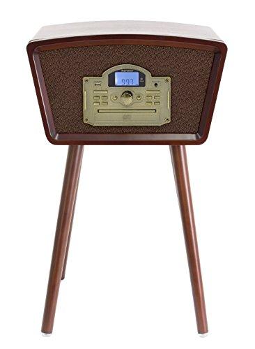 Karcher NO-040 Nostalgie Musikcenter, Kompaktanlage mit Plattenspieler, CD-Player, Radio, USB braun