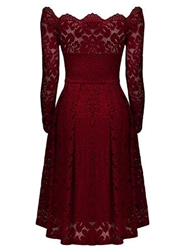 MIUSOL Vintage Donna Pizzo Vestito Slim Una Spalla Abiti Da Sera Rosso